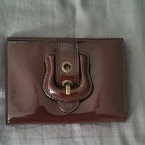 FENDI Brown Patent Leather Waller